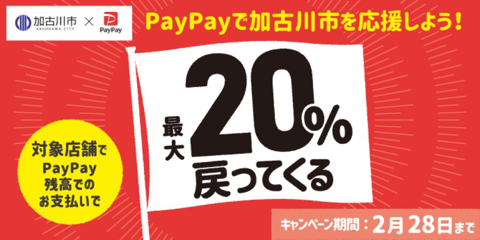 PayPay×加古川市 対象のお店で最大20%戻ってくる!キャンペーン