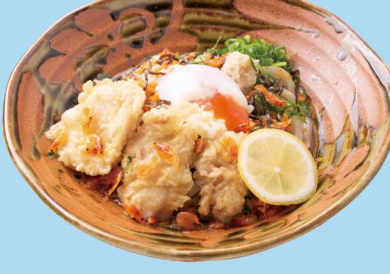 桜海老と鶏天の塩玉ぶっかけうどん